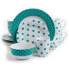 Isaac Mizrahi Dot Luxe 16 Piece Dinnerware Set, Teal