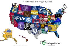 The colleges with the lowest acceptance rate in each state, per the National Center for Education Statistics.