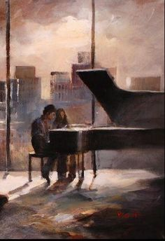 It's a painting of she and I at the piano in the great room with the Seattle skyline behind us. Aesthetic Art, Aesthetic Pictures, Art Sketches, Art Drawings, Piano Art, Drawing Piano, Romance Art, Classical Art, Renaissance Art