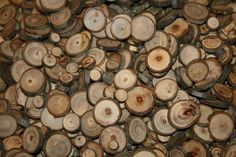 Small wood slices for sale, wood rounds, tree slices, tree disc, tree bark, natural tree bark. $24.95, via Etsy.