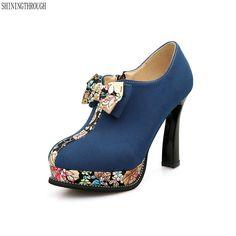 c5da27d1c Новые женские туфли-лодочки плюс Размеры 34–43 модные милые с бантом с  круглым носком Высокие каблуки свадебные женские женская обувь Blck синий  зеленый