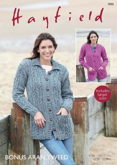 81f672fdf30cf Collared and Round Neck Cardigans in Hayfield Bonus Aran Tweed - 7895 -  Leaflet