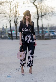 Alexandra Lapp wearing Printed jacket with contrasting sash belt lapel collar and long sleeves from Zara in black with rose birds Matching flowing... March 2017 #PFW #StreetStyle