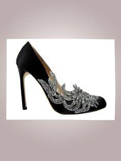 Manolo Blahnik Swan heel, $1,295Saks Fifth Avenue, NYC, 212.753.4000  size 11 please