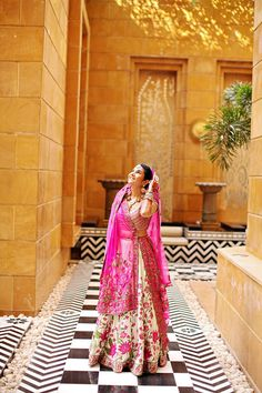 Pink floral bridal lehnga on IndianWeddingSite.com