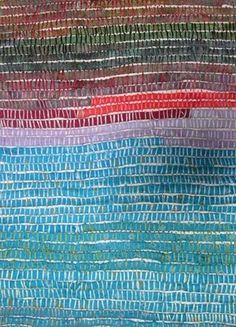 strips of cloth stitched onto backing by Judy Martin