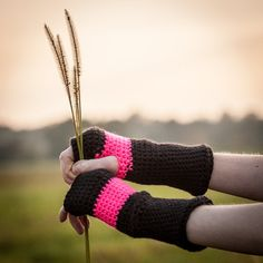 Black Pink Fingerless Gloves / Crochet Arm Warmers / by RUKAMIshop
