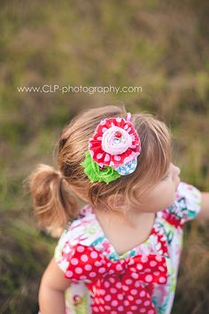 Happiness and Holidays- ruffle, rosette and chiffon flower headband in pink, lime, and aqua