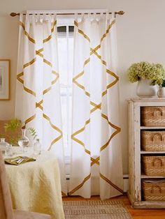 Diy curtain hanging ideas swag valance dining room in curtains How To Make Curtains, Home Staging Tips, Home Curtains, Diy Curtains, Rod Pocket Curtains, Diy Window Treatments, Ribbon Curtain, Home Decor, Diy Curtain Hanging