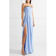 Marchesa Notte Strapless bead-embellished crepe gown ($840) ❤ liked on Polyvore featuring dresses, gowns, white party dresses, white dress, beaded evening gowns, party dresses and party gowns