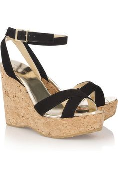 Jimmy Choo Papyrus suede wedge sandals [thebest835] - $202.00 : Discounted Christian Louboutin,Jimmy Choo,Valentino Shoes Online store