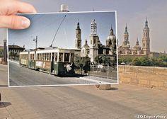 Mezclando presente y pasado en el Puente de Piedra. #ZGZayeryhoy @SoydeZaragoza @zgzciudadana @ZaragozaTurismo