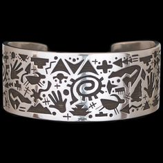 Hopi Sterling Silver Petroglyphs Bracelet - Kee Yazzie Jr. (#60)