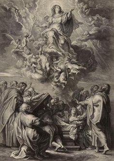 The Assumption of the Virgin / La Asunción de la Virgen // Schelte Adams Bolswert (after Sir Peter Paul Rubens) // © THE MUSEUM OF FINE ARTS, HOUSTON // #VirginMary #Rosary #print