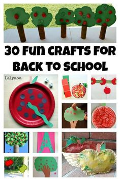 30 FUN Back to School Crafts Apple, School Bus and Pencil Themed Back to School Crafts for Kids on L Back To School Crafts For Kids, Back To School Art, Crafts For Kids To Make, Art For Kids, Kids Crafts, School Fun, School Week, School Parties, Apple School