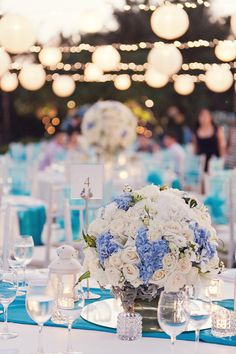 Blue and white table centerpiece. A Turquoise Wedding at Conrad Bali: Llewellyn and Sheryl