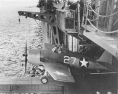 F6F-3 Hellcat of VF-1 being catapulted from the hangar deck catapult on the carrier USS Yorktown (Essex-class) off Trinidad, 3 Jun 1943. (US Navy photo)