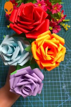 Useful Paper Crafts Art~ Useful Paper Crafts Art~ <br> Paper Flowers Craft, Paper Crafts Origami, Easy Paper Crafts, Diy Crafts For Gifts, Origami Flowers, Paper Roses, Diy Arts And Crafts, Flower Crafts, Creative Crafts