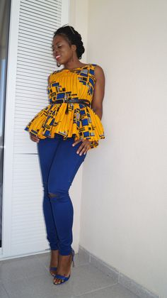 Ankara peplum top african print top by MADKollection on Etsy African Blouses, African Tops, African Print Skirt, African Prints, Ankara Peplum Tops, Ankara Clothing, African Fashion Dresses, African Dress, Casual Tops For Women