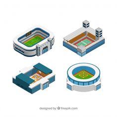 Colección de estadios en estilo isométrico vector gratuito Melty Bead Patterns, Beading Patterns, Isometric Art, Rowing, Pinball, Soccer, Low Poly, Motion Graphics, Buildings