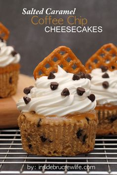 Salted Caramel Coffee Chip Cheesecakes - coffee and salted caramel make these mini cheesecakes delicious  www.insidebrucrewlife.com
