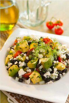 Avocado and Black Bean Salad. Avacados, tomatoes, cilantro, jalapeño, black bean, corn, feta cheese!