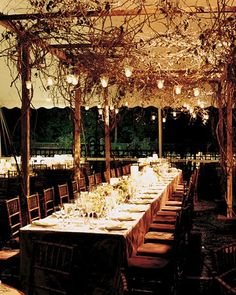 A garland runs the length of the head table. Votive candles illuminate a canopy of grapevine arbor.