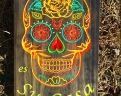 Day Of The Dead Wall Art sugar skull day of the dead art wood sign | sugar skulls and wood