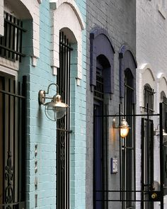 . great color palette // painted row houses .
