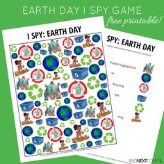 Free printable Earth Day themed I Spy game for kids from And Next Comes L