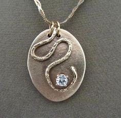 Bronze Metal Clay Snake Pendant Necklace by FirednWiredJewelry on etsy Metal Clay Jewelry, Metal Necklaces, Jewelry Art, Jewelry Design, Unique Jewelry, Necklace Ideas, Love Necklace, Pendant Necklace, Precious Metal Clay