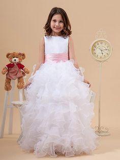 A-line/Princess Scoop Floor-length Organza Flower Girl Dress With Ruffles