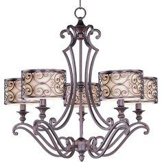 Mondrian Umber Bronze Five-Light Chandelier