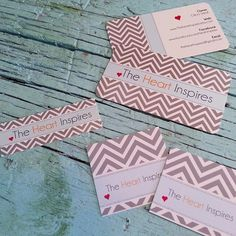 Chevron striped grey and white square cards, standard business cards and mini business cards for a great cause!