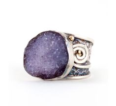 Amy Buettner - Amethyst Druzy Sterling silver and 18kgold Ring