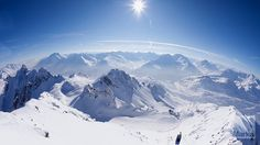 Snow covered mountains in winter, Valluga, St. Anton Am Arlberg, Tyrol, Austria. © SuperStock