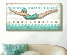 My favorite beach wall art is big, bold and beautiful. Beach art that captures the fun in the sun and the feel of the wide open sea. Decor, Beach Wall Art, Beachy Decor, Coastal Decor, Retro, Beach House Decor, Cottage Decor, Cottages By The Sea, Beach Decor