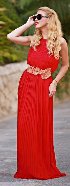 Burgundy Red Pleated Gown by Fashion Painted Dreams