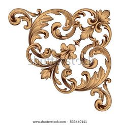 You can use for wedding decoration of greeting card and laser cutting. Gothic Pattern, Baroque Pattern, Retro Pattern, Floral Retro, Filigree Tattoo, Interior Design Classes, Tattoo Project, Ornaments Design, Gold Wood