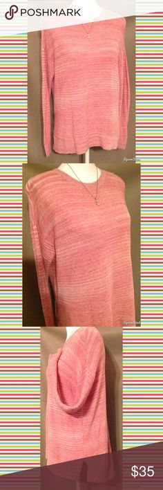Pink Lou & Grey Long Sleeve Sweater With effortlessly cool side slits and stitchy shoulder trim everything about this longer length essential is laid-back and cozy. Long sleeves, side slits, ribbed cuffs and hem. Size: XS; 100% Cotton. Lou & Grey Tops Tees - Long Sleeve