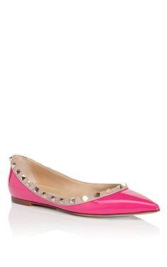 So many pretty Valentino's, only 1 #shoeoftheday...Pop Fuchsia Rockstud Ballerina Flat