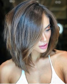 18 Ideas hair color ideas for brunettes with highlights rose gold – Hair – Hair is craft Popular Short Haircuts, Short Layered Haircuts, Layered Bob Hairstyles, Cool Hairstyles, Hairstyle Ideas, Pixie Haircuts, Hairstyles Haircuts, Layered Lob, Layered Short Hair