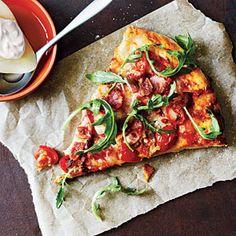 Bacon, Tomato, and Arugula Pizza - Healthy Pizza Recipes - Cooking Light