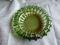 7.25'' Vintage Ashtray Green Blenko Glass Ribbed Cigarette Cigar Mid Century