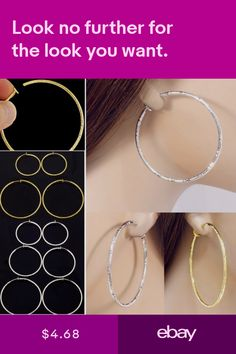 9db3eae28 #E121E Pair FAKE PIERCING CLIP ON Texture Hoop EARRINGS Spring Closure Big  Small