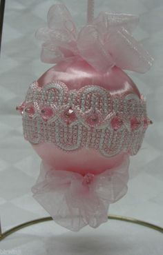 Handmade Pink Christmas Tree Ornament Embellished Trim & Organdy Bows | eBay  use beads instead of trim