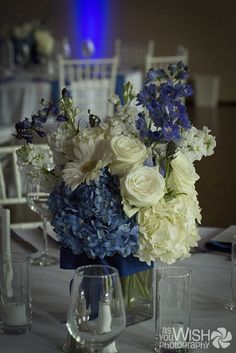 floral centerpiece for a blue wedding | ©2013 AsYouWishAustin.com