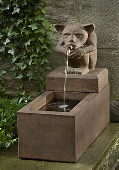 Sitting Gargoyle Plinth cast stone Fountain made by Campania International
