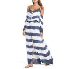 Women's Elan Stripe Maxi Cold Shoulder Dress ($68) ❤ liked on Polyvore featuring dresses, stripe dress, stripe maxi dress, elan dresses, drawstring maxi dress and striped dresses