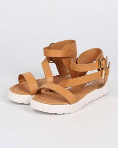 New Girl Link Aimee-95K Leatherette Open Toe Ankle Strap Lug Gladiator Sandal #Link #Strappy